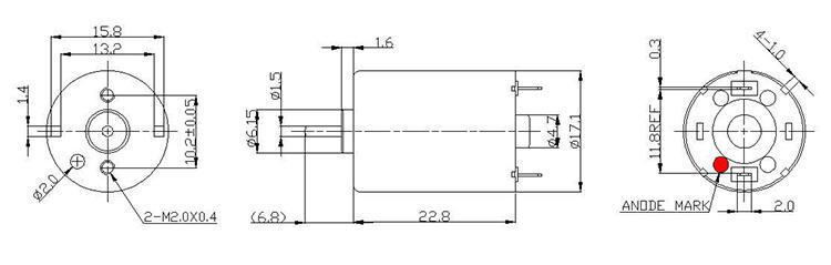 微型直流有刷电机产品外观尺寸