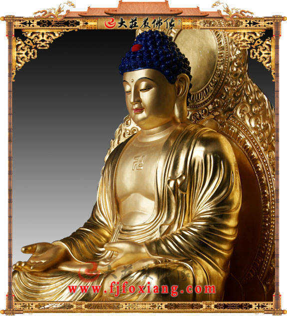 铜像贴金五方佛之西方阿弥陀佛侧面近照