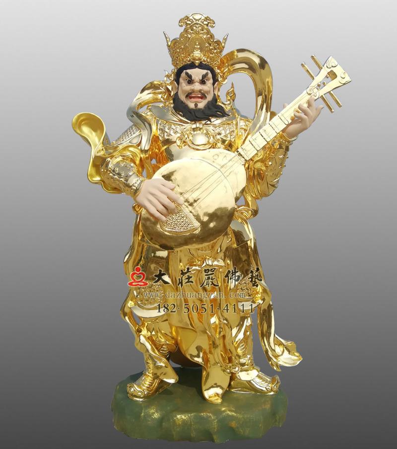铜雕贴金持国天王