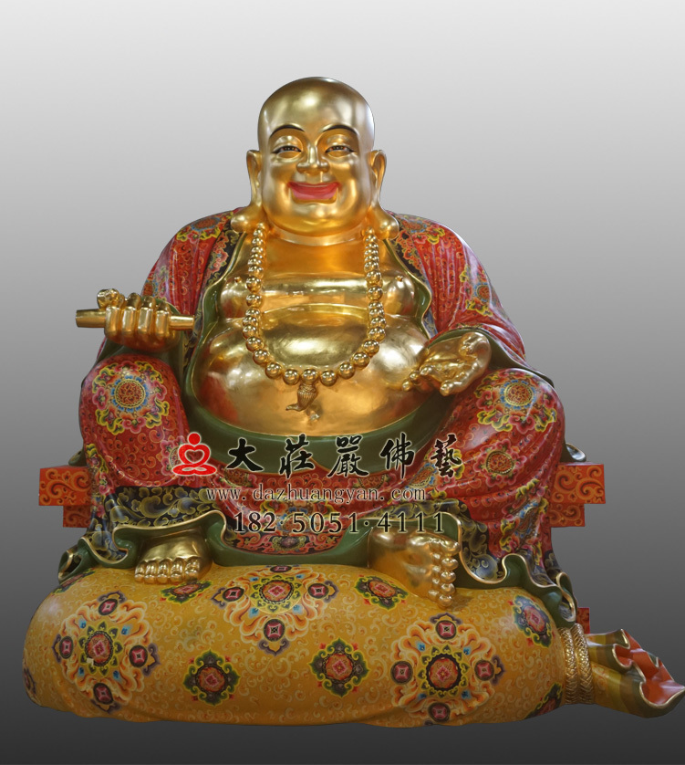 铜雕弥勒佛彩绘贴金佛像