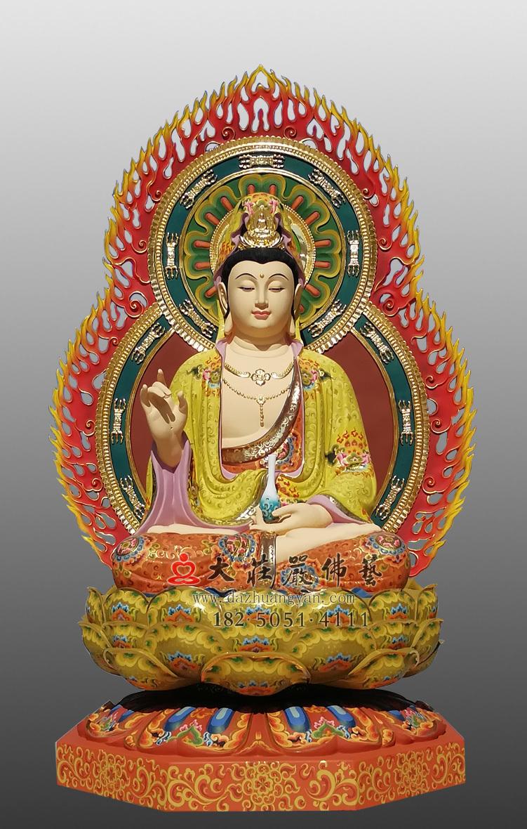 铜雕净瓶彩绘佛像