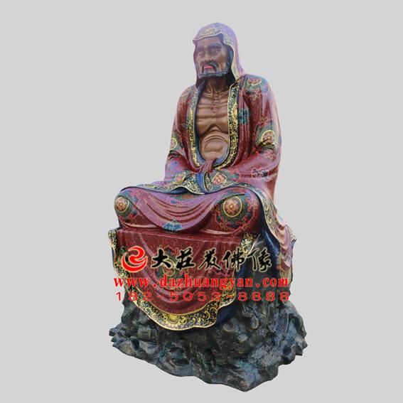铜雕菩提達摩彩绘塑像