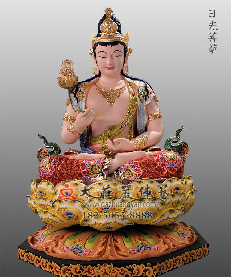 铜雕日光菩萨彩绘佛像