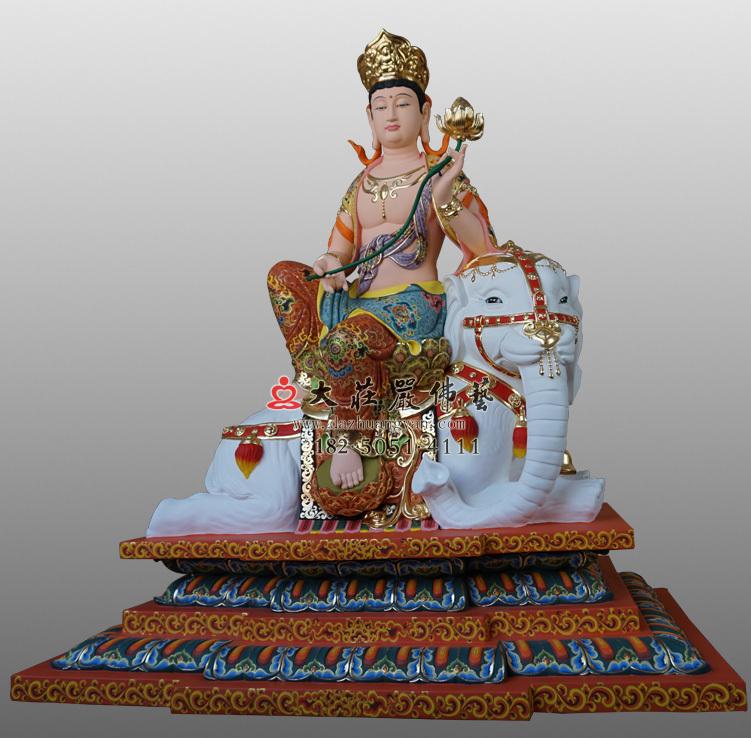 铜雕普贤菩萨彩绘佛像