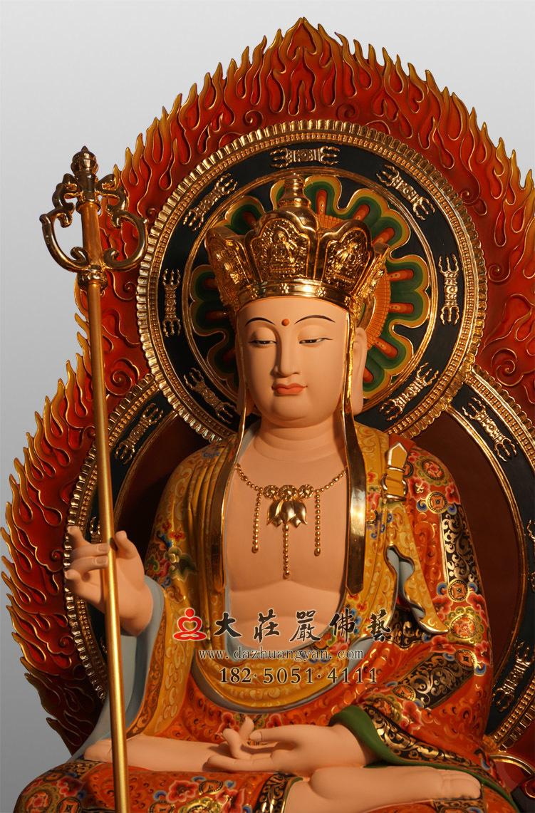 铜雕地藏王菩萨侧面彩绘佛像