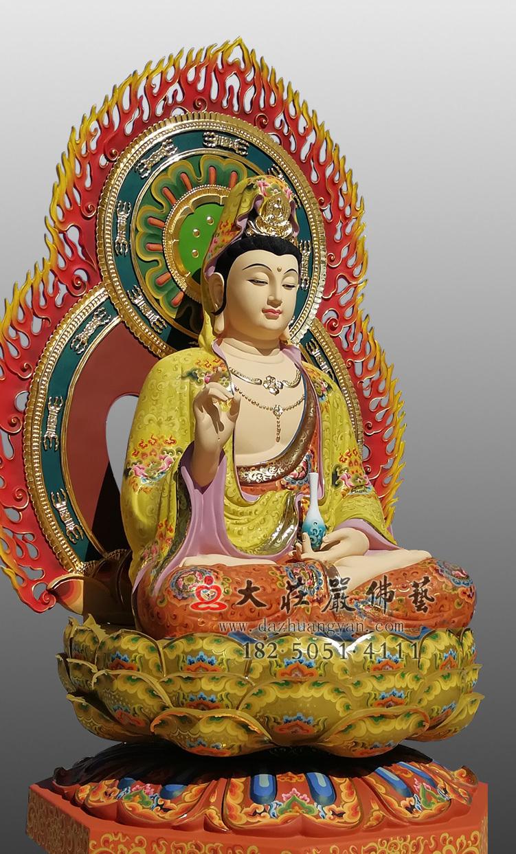 铜雕净瓶观音彩绘佛像