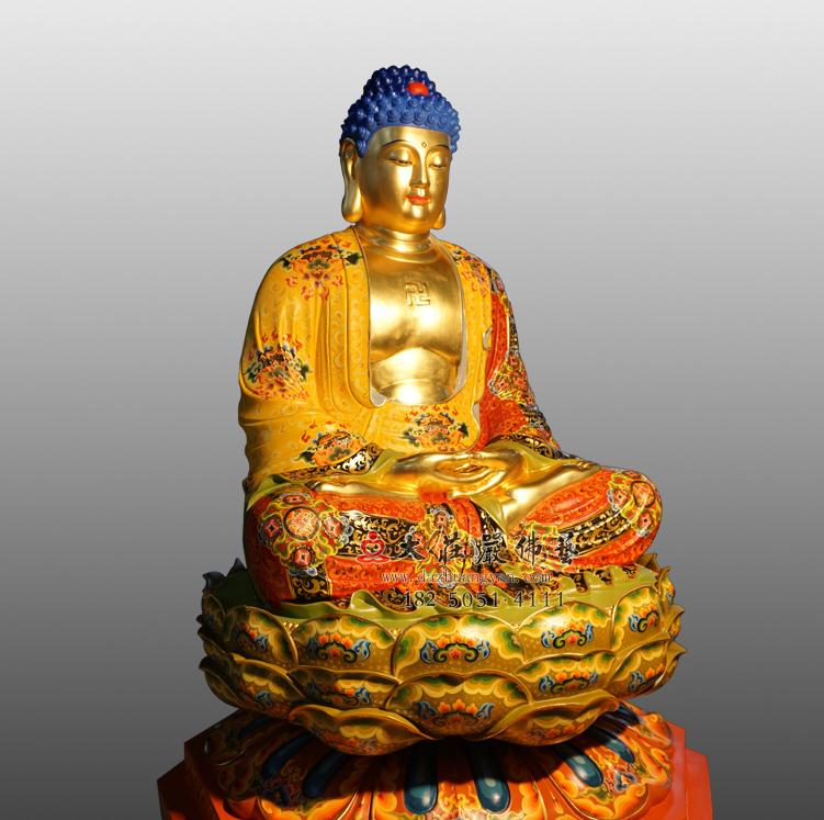 铜雕释迦牟尼佛侧面彩绘佛像