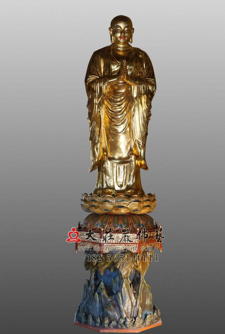 阿铜雕难尊者贴金佛像