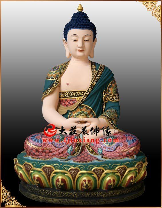 铜雕三宝佛之释迦牟尼佛塑像正面整体实拍图