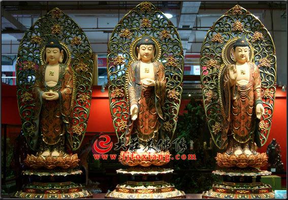 铜雕三宝佛彩绘塑像