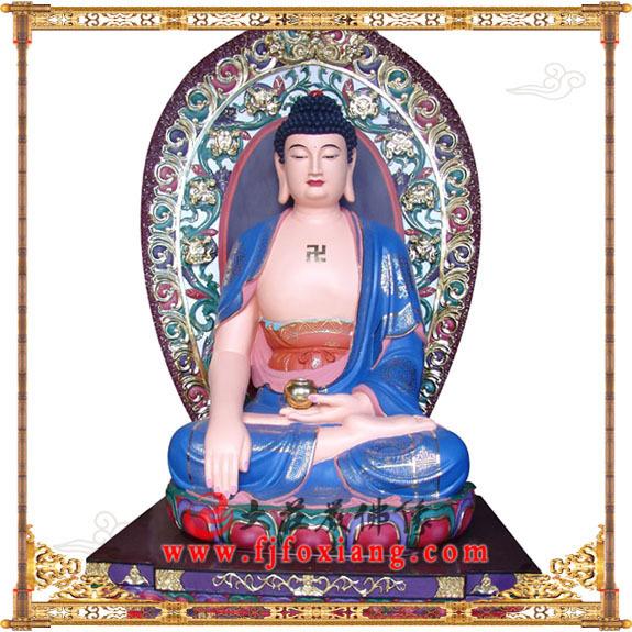 铜雕极彩东方阿閦佛塑像正面实拍