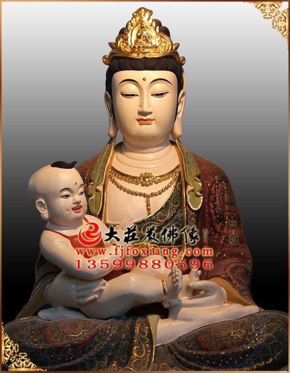 彩绘送子菩萨铜像正面近照实拍