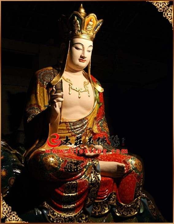 地藏王菩萨铜像侧面彩绘像