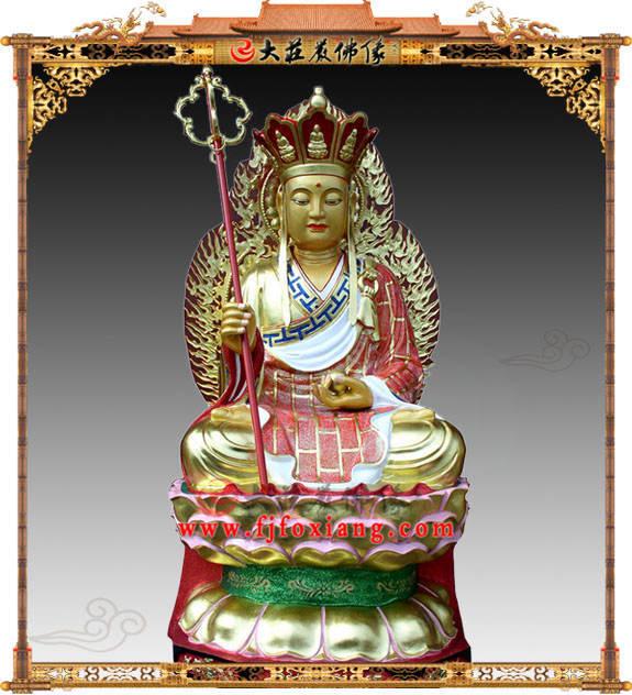 地藏王菩萨彩绘描金铜像