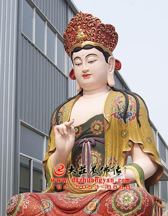 彩绘铜像文殊菩萨侧面近照图