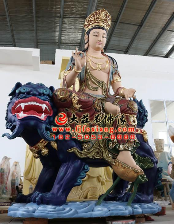 彩绘铜像文殊菩萨整体侧面塑像