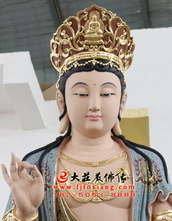 彩绘铜像文殊菩萨正面近照塑像