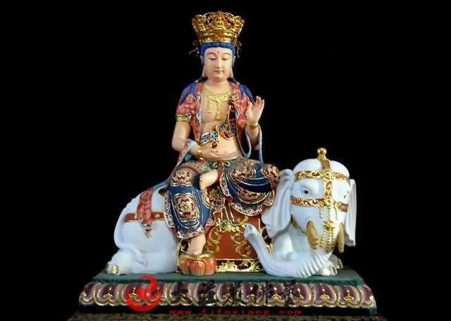彩绘铜像普贤菩萨