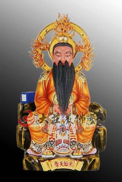彩绘铜像三清之元始天尊神像