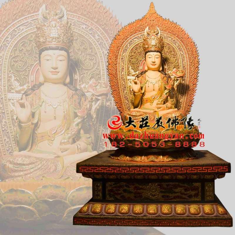 铜雕文殊菩萨彩绘佛像