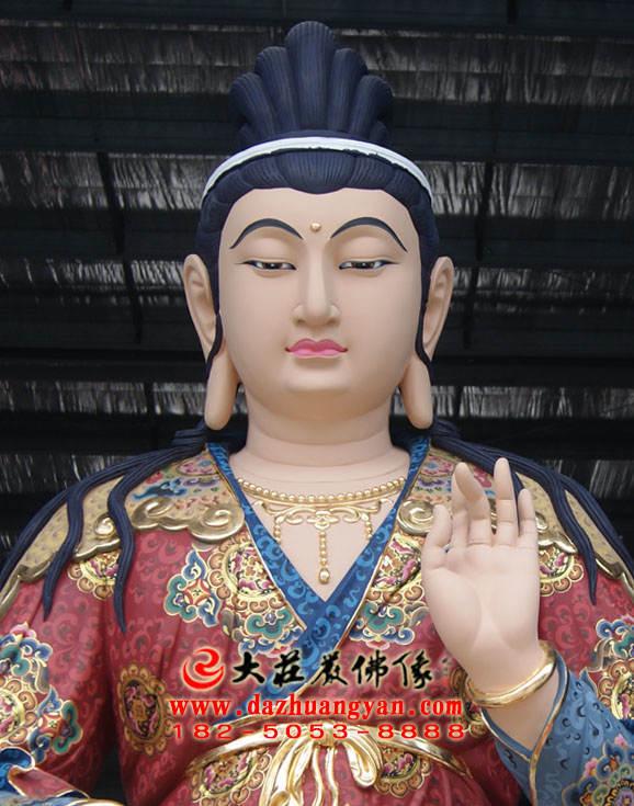 铜像彩绘文殊菩萨正面近照塑像