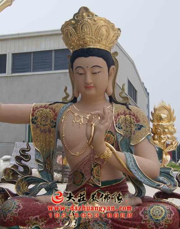 铜像孺童文殊菩萨侧面近照彩绘佛像