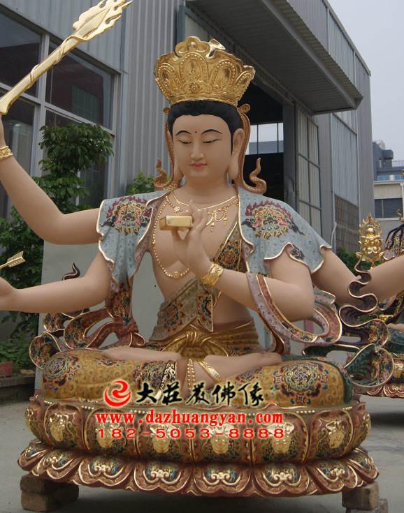 铜像聪明文殊菩萨侧面彩绘塑像