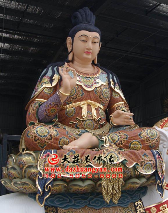 铜像普贤菩萨侧面近照彩绘描金塑像