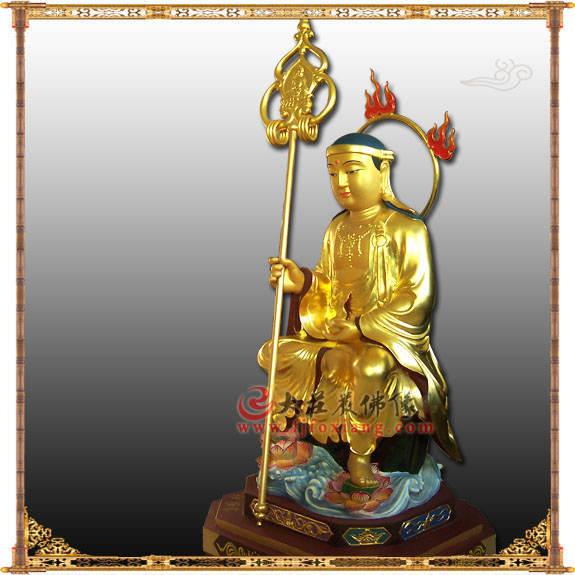 铜雕贴金韩国式地藏王菩萨侧面佛像