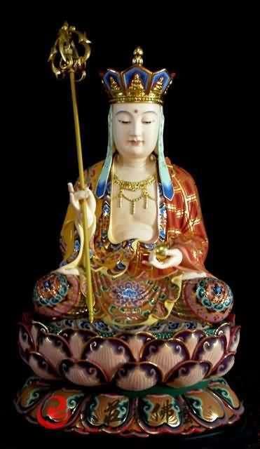 铜像彩绘地藏菩萨塑像