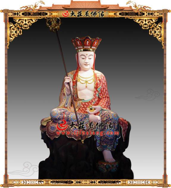 铜雕地藏王菩萨彩绘描金塑像
