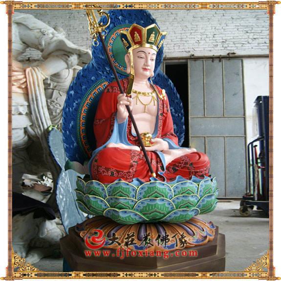 铜像地藏王菩萨侧面彩绘佛像