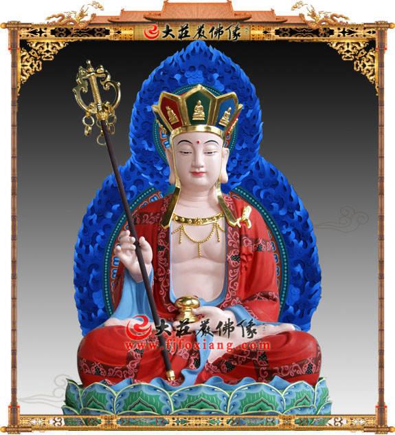 铜像地藏王菩萨正面近照彩绘佛像