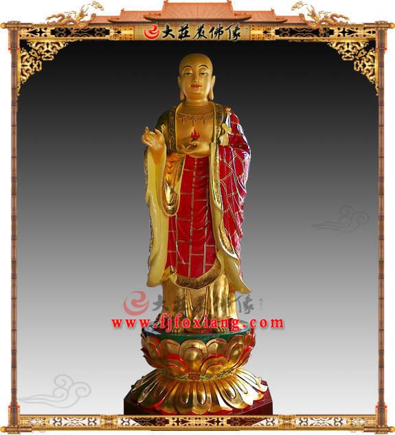 铜雕地藏王菩萨彩绘描金佛像