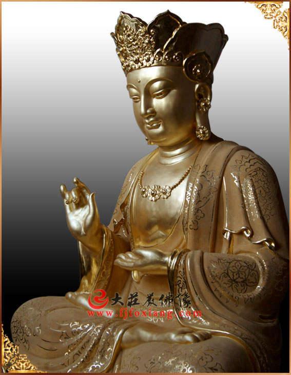 铜像地藏王菩萨侧面贴金佛像
