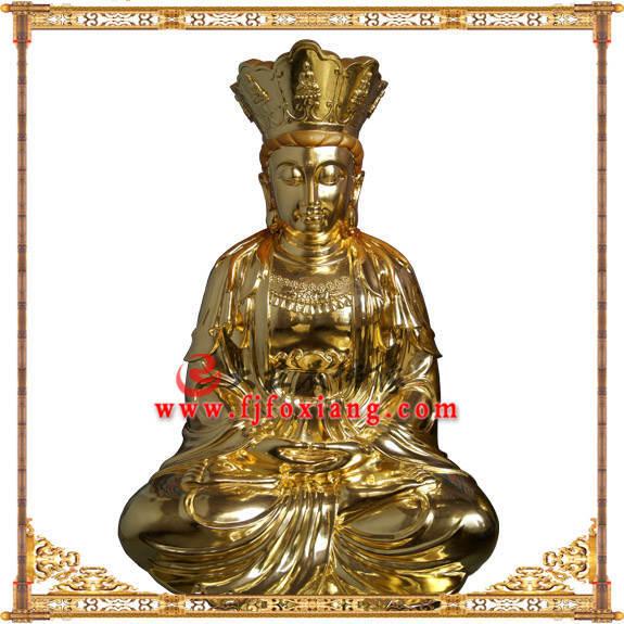 铜像贴金观音菩萨坐像正面近照