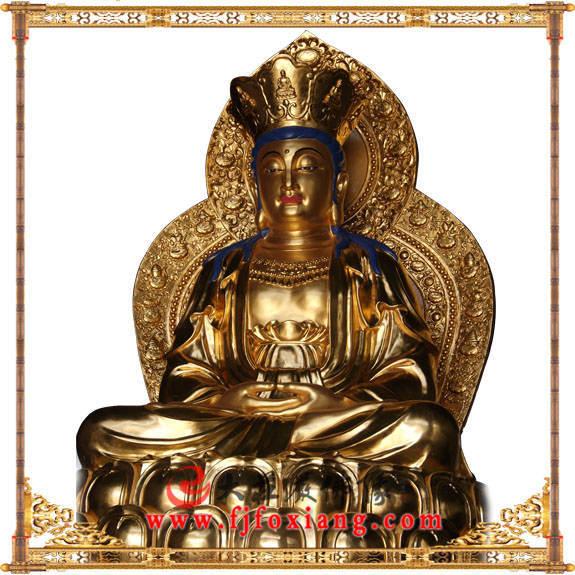 铜像贴金观音菩萨坐像侧面近照