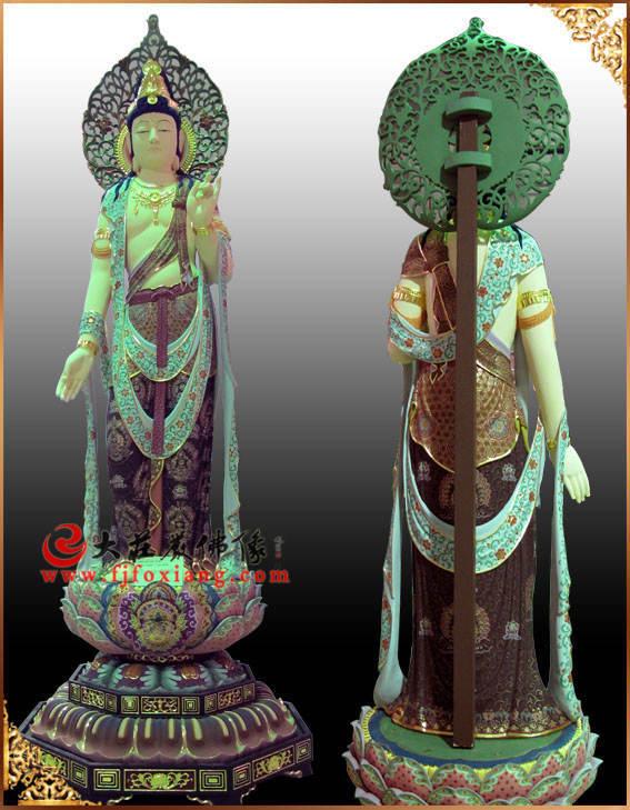 铜雕圣观音彩绘描金塑像