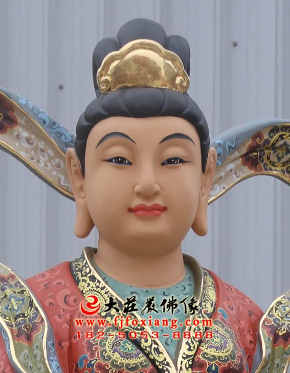 彩绘描金观音左㔹侍龙女正面近照塑像
