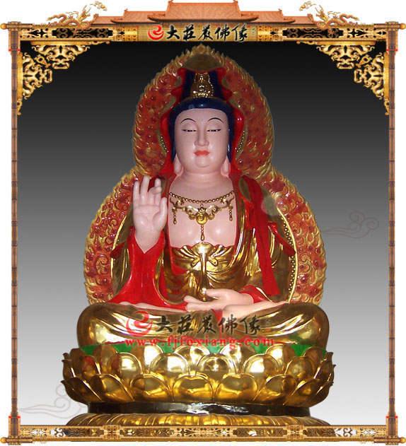 彩绘描金观音菩萨塑像