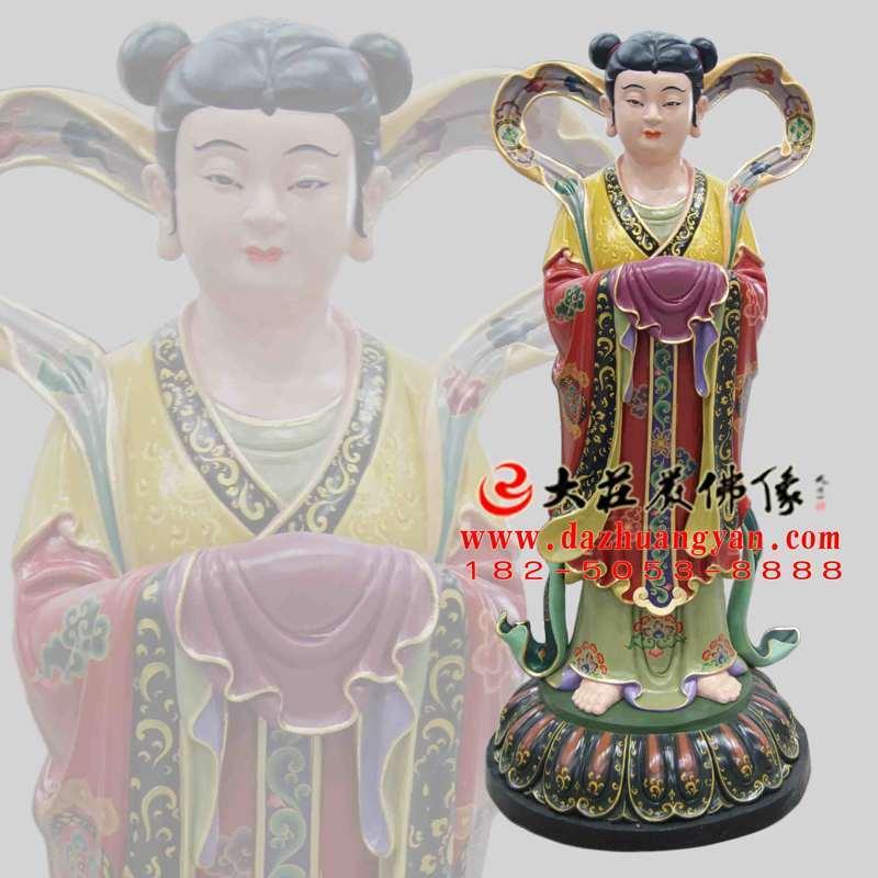 铜雕龙女彩绘佛像