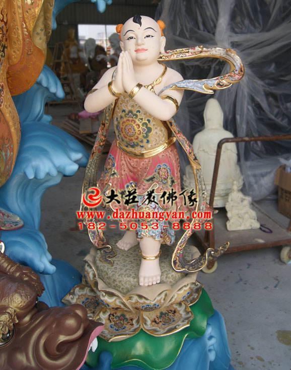 铜雕善财童子彩绘佛像