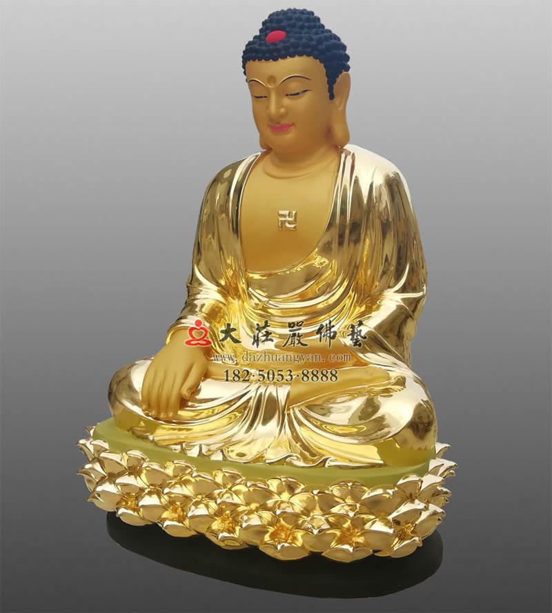 铜像五方佛之东方阿閦佛侧面整体贴金佛像