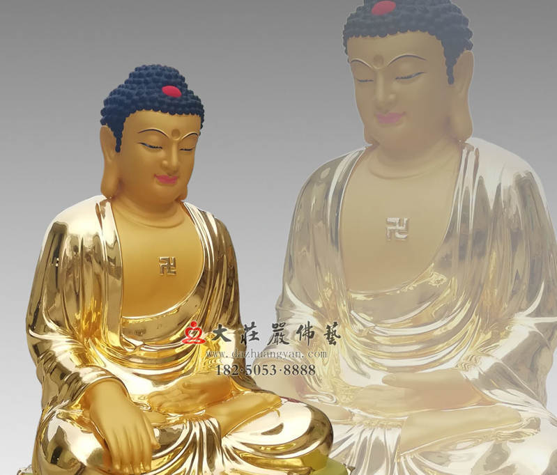 铜像五方佛之东方阿閦佛贴侧面近照金佛像