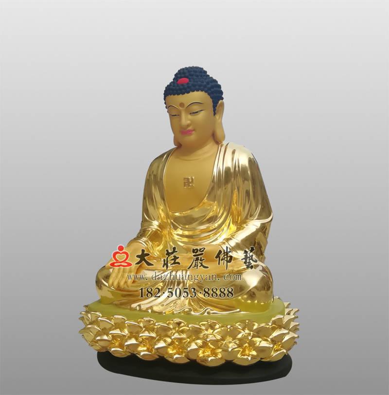 铜像五方佛之贴金南方宝生佛侧面佛像