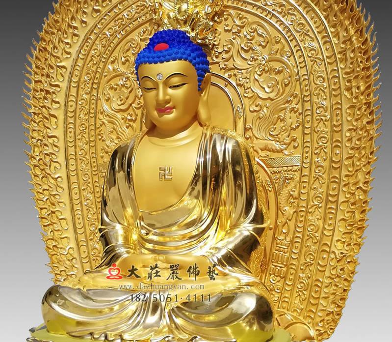 铜雕三宝佛之贴金释迦牟尼佛侧面近照