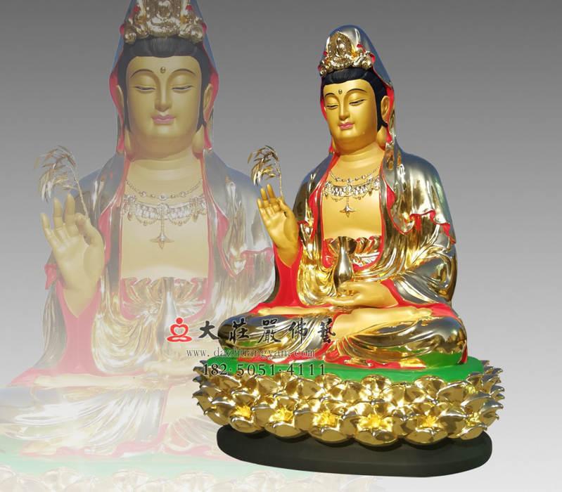 铜像观世音菩萨侧面彩绘贴金佛像