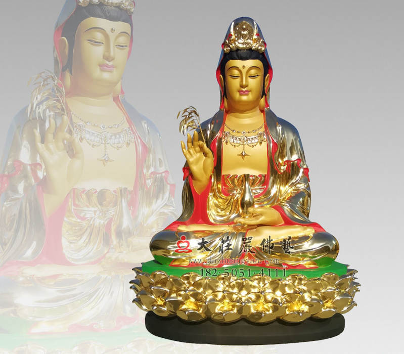 铜雕观世音菩萨彩绘贴金佛像