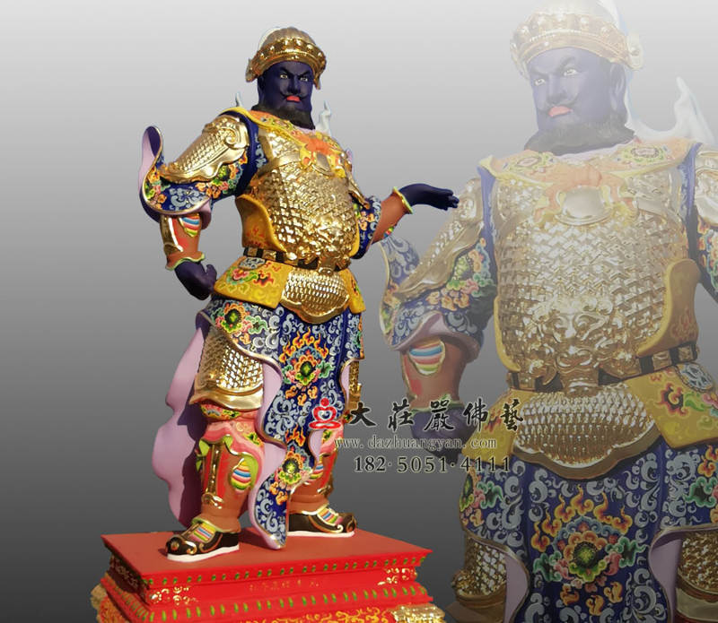 铜雕甲戌神将展子江侧面彩绘像
