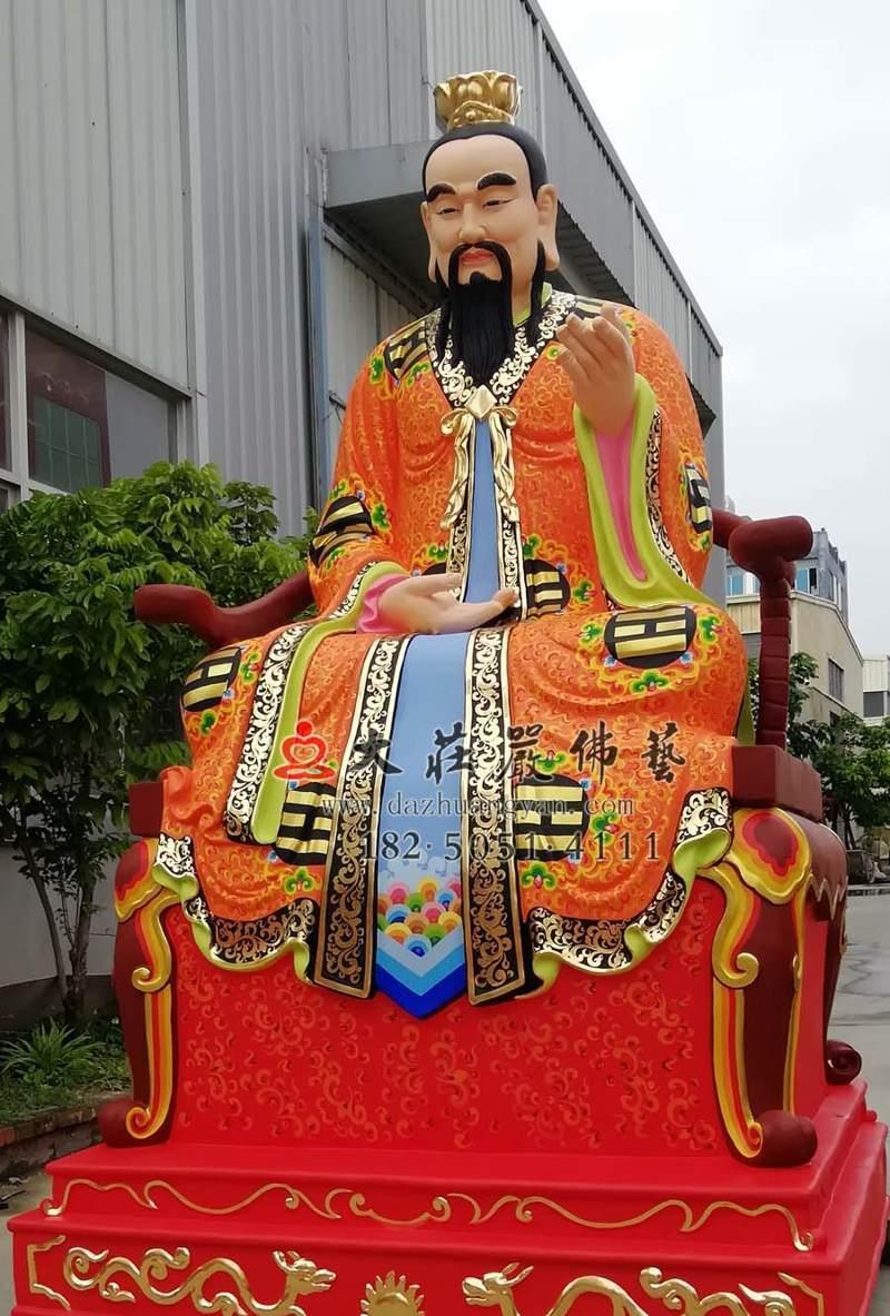 铜雕三清之灵宝天尊侧面彩绘神像